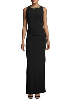 Laundry By Shelli Segal Embellished-Neck Side-Ruched Gown