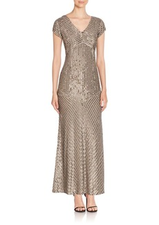 Laundry by Shelli Segal PLATINUM Embellished V-Neck Gown