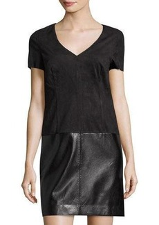 Laundry By Shelli Segal Faux-Suede & Faux-Leather Shift Dress