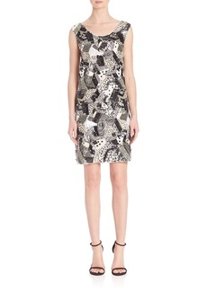 Laundry by Shelli Segal PLATINUM Geometric Sequin Beaded Dress