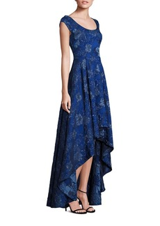 Laundry by Shelli Segal PLATINUM Jacquard Hi-Lo Gown