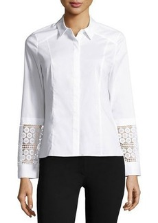 Laundry by Shelli Segal Platinum Lace-Cuff Poplin Shirt
