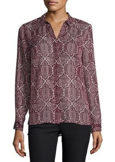 Laundry by Shelli Segal Platinum Metallic-Thread Print Blouse