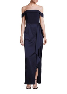 Laundry by Shelli Segal Platinum Off-the-Shoulder Satin Gown