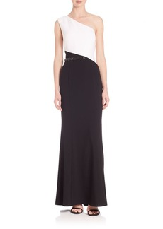 Laundry by Shelli Segal PLATINUM One-Shoulder Colorblock Gown