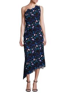 Laundry by Shelli Segal PLATINUM One-Shoulder Floral Lace Dress