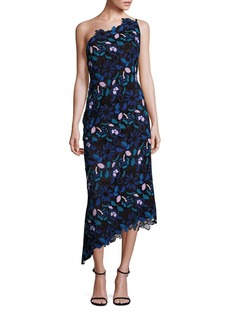 Laundry by Shelli Segal PLATINUM One-Shoulder Floral Lace Dress