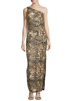 Laundry by Shelli Segal Platinum One-Shoulder Sequined Gown