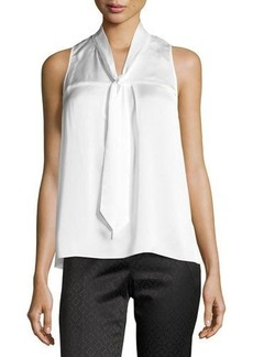 Laundry by Shelli Segal Platinum Pleated Tie-Neck Top