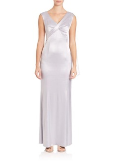 Laundry by Shelli Segal PLATINUM Satin Twist-Front Cape Gown
