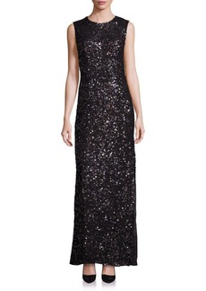 Laundry by Shelli Segal PLATINUM Sequin Cutout Gown
