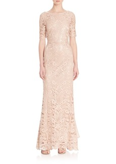 Laundry by Shelli Segal PLATINUM Sequin Lace Gown