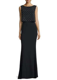 Laundry by Shelli Segal Platinum Sleeveless Embellished-Popover Gown