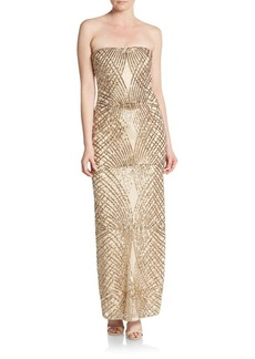 Laundry by Shelli Segal PLATINUM Strapless Sequined Gown