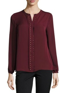 Laundry by Shelli Segal Platinum Studded Placket Top