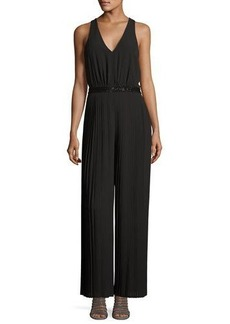 Laundry By Shelli Segal Pleated Beaded-Waist Jumpsuit