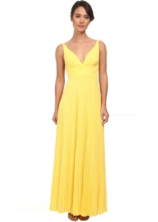 Pleated Chiffon Open Back Gown