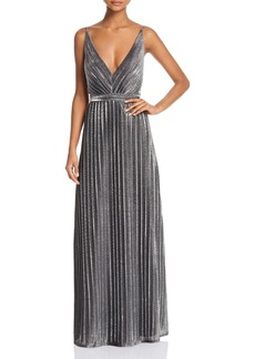 Laundry by Shelli Segal Pleated Foil Gown