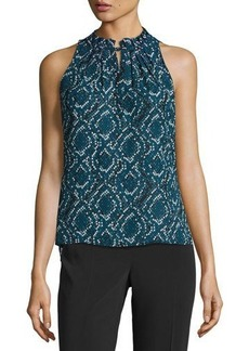 Laundry by Shelli Segal Pleated-Neck Print Top