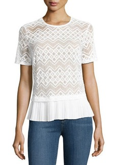 Laundry By Shelli Segal Pleated-Trim Lace Top