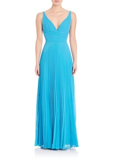Laundry by Shelli Segal Pleated V-Neck Gown