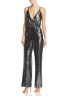 Laundry by Shelli Segal Plunging Sequined Jumpsuit