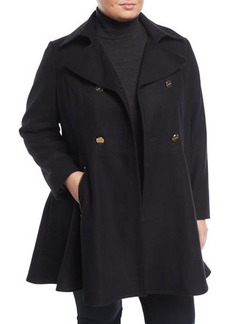 Laundry By Shelli Segal Plus Double-Breasted Fit-and-Flare Coat