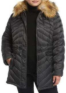 Laundry By Shelli Segal Plus Down Anorak Jacket W/ Faux Fur Trim