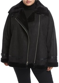 Laundry By Shelli Segal Plus Faux Shearling Moto Jacket
