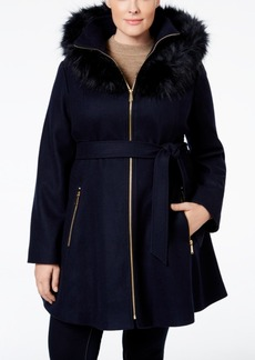 Laundry by Shelli Segal Plus Size Faux Fur-Trim A-Line Coat