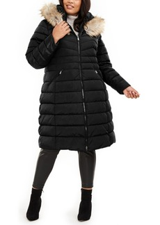 Laundry By Shelli Segal Plus Size Faux-Fur Trim Hooded Puffer Coat