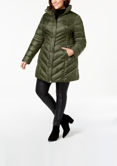 Laundry by Shelli Segal Plus Size Faux-Fur-Trim Hooded Puffer Coat