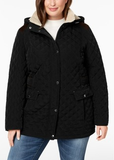 Laundry by Shelli Segal Plus Size Fleece-Lined Quilted Coat