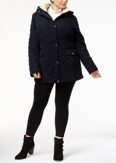 Laundry by Shelli Segal Plus Size Fleece-Trim Quilted Coat