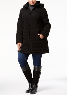 Laundry by Shelli Segal Plus Size Hooded Quilted Coat