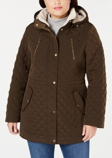Laundry By Shelli Segal Plus Size Sherpa-Lined Hooded Quilted Jacket