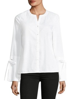 Laundry By Shelli Segal Poplin Button-Front Top