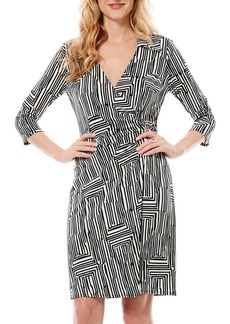 Laundry by Shelli Segal Print Jersey Faux Wrap Dress