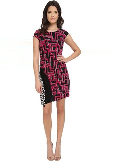 Print Matte Jersey T-Body Dress with Seaming