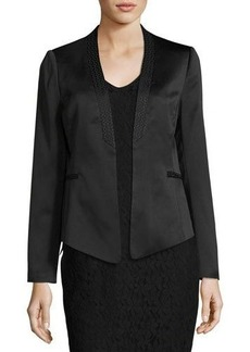 Laundry By Shelli Segal Print-Trim Crepe Satin Blazer