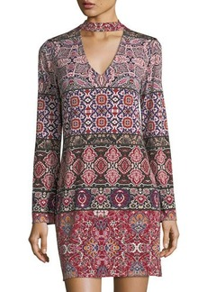 Laundry By Shelli Segal Printed MJ Split neck dress