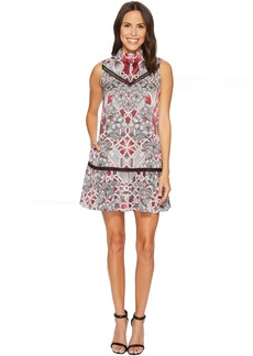Printed Mock Neck A-Line Dress