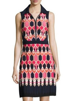 Laundry By Shelli Segal Printed-Panel Sleeveless Knit Dress