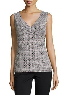 Laundry By Shelli Segal Printed Shirred Sleeveless Blouse