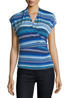 Laundry By Shelli Segal Printed Shirred Wrap Tee