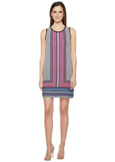 Laundry by Shelli Segal Printed Sleeveless Trapeze Dress w/ Contrast