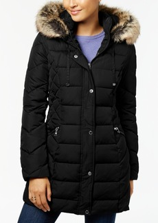 Laundry by Shelli Segal Quilted Faux-Fur-Trimmed Puffer Coat