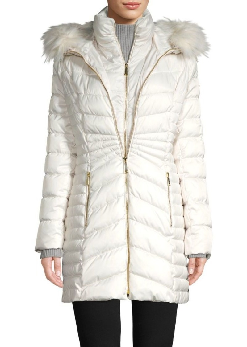 Laundry by Shelli Segal Quilted Faux-Fur Trimmed Puffer Coat