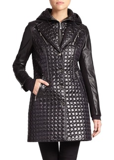 Laundry by Shelli Segal Quilted Faux Leather-Detail Jacket