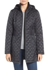 Laundry by Shelli Segal Quilted Hooded Coat (Regular & Petite)
